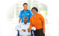 Portrait of african female healthcare worker with senior couple at home